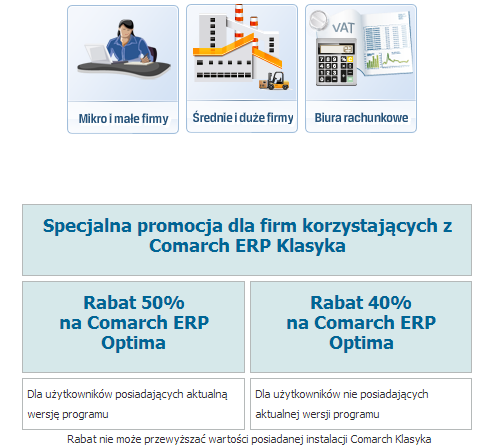 Comarch ERP Optima - Promocja DOS